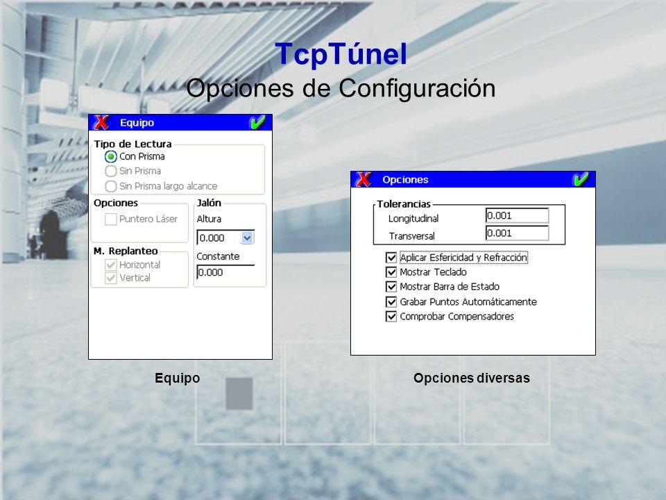 TCP-TÚNEL – Replanteo y Toma de Datos en Túneles TcpTúnel Opciones de Configuración EquipoOpciones diversas