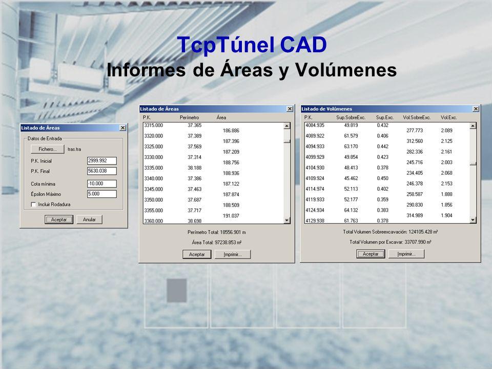 TCP-TÚNEL – Replanteo y Toma de Datos en Túneles TcpTúnel CAD Informes de Áreas y Volúmenes