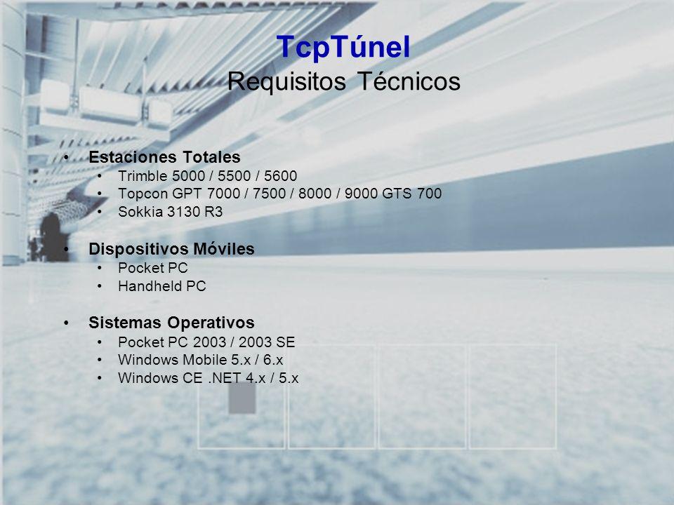 TCP-TÚNEL – Replanteo y Toma de Datos en Túneles TcpTúnel Requisitos Técnicos Estaciones Totales Trimble 5000 / 5500 / 5600 Topcon GPT 7000 / 7500 / 8