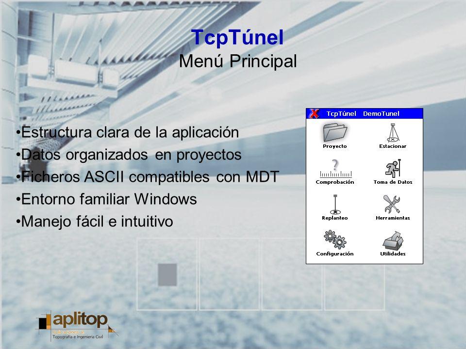 TcpTúnel Menú Principal Estructura clara de la aplicación Datos organizados en proyectos Ficheros ASCII compatibles con MDT Entorno familiar Windows M