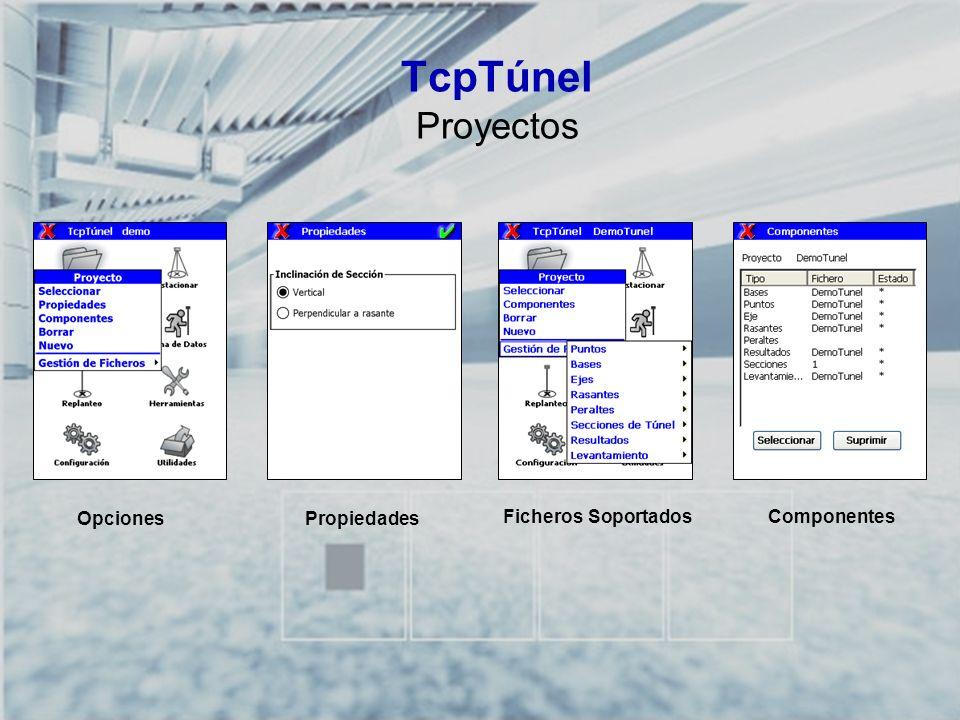 TCP-TÚNEL – Replanteo y Toma de Datos en Túneles TcpTúnel Proyectos Opciones ComponentesFicheros Soportados Propiedades