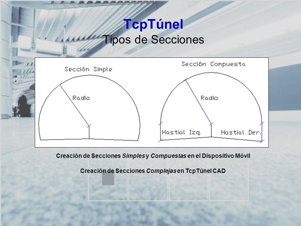TCP-TÚNEL – Replanteo y Toma de Datos en Túneles TcpTúnel Tipos de Secciones Creación de Secciones Simples y Compuestas en el Dispositivo Móvil Creaci