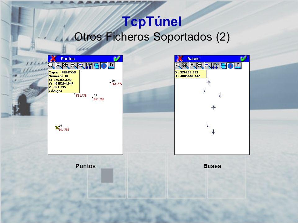 TCP-TÚNEL – Replanteo y Toma de Datos en Túneles TcpTúnel Cálculo y Análisis de Puntos sobre Eje Calcula cualquier punto proyectado sobre el eje Analiza cualquier punto con respecto al eje