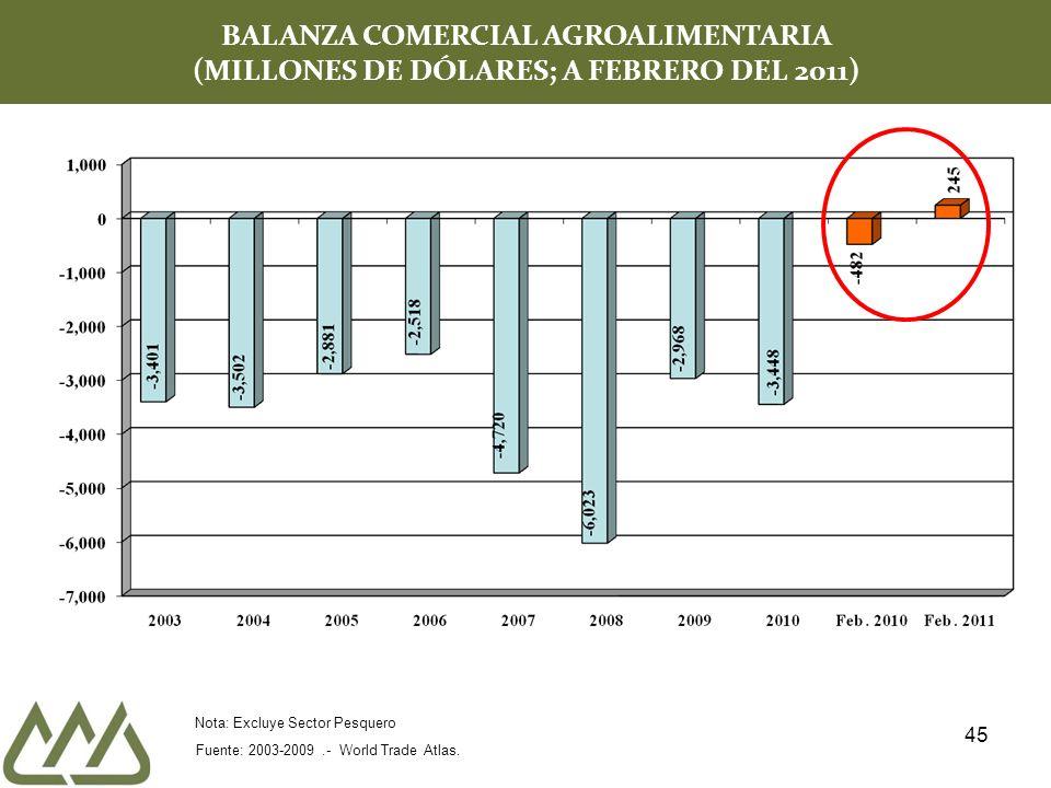 45 BALANZA COMERCIAL AGROALIMENTARIA (MILLONES DE DÓLARES; A FEBRERO DEL 2011) Fuente: 2003-2009.- World Trade Atlas.