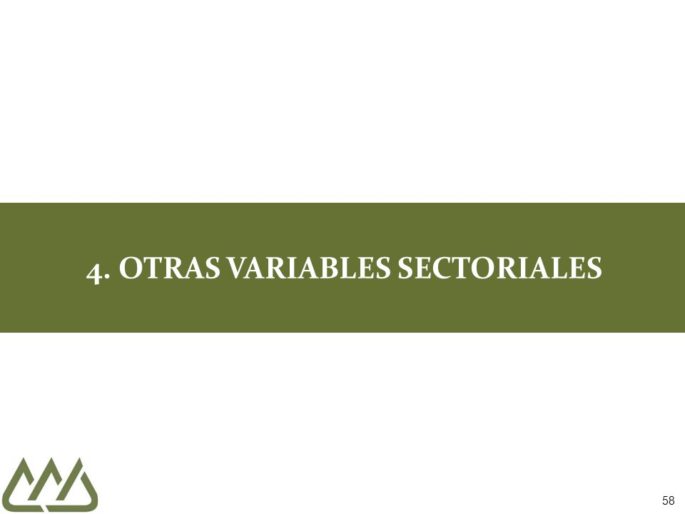 58 4. OTRAS VARIABLES SECTORIALES