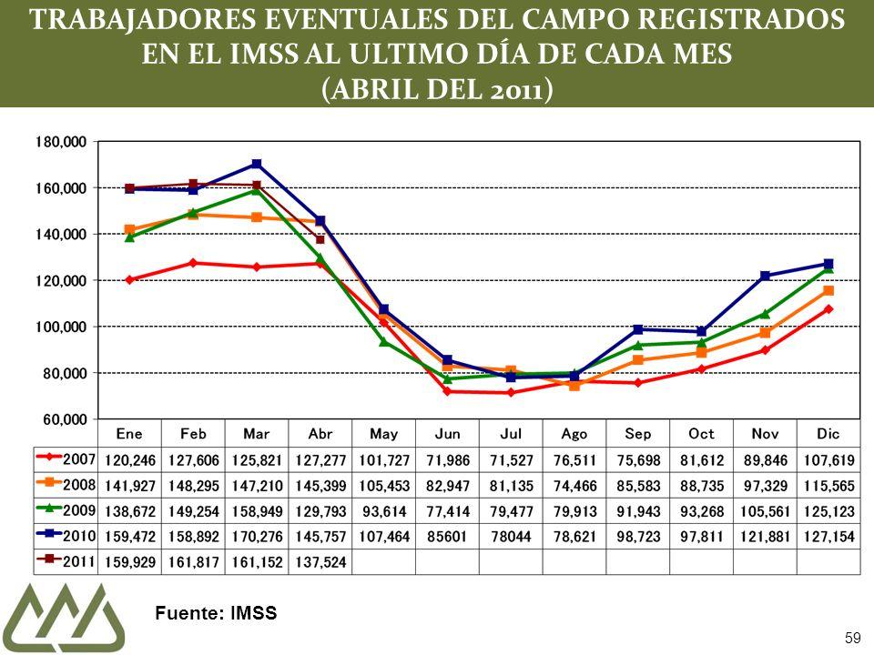 59 TRABAJADORES EVENTUALES DEL CAMPO REGISTRADOS EN EL IMSS AL ULTIMO DÍA DE CADA MES (ABRIL DEL 2011) Fuente: IMSS