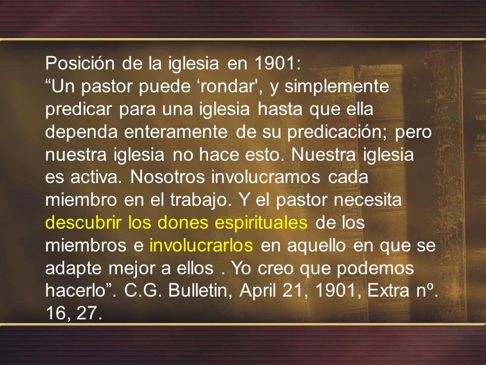 Los principios básicos extraídos del modelo de los pioneros Adventistas eran: 1- Las Iglesias no deberían depender del pastor para realizar el trabajo misionero; 2- Los miembros deberían ser discipulados y entrenados para asumir el Ministério.