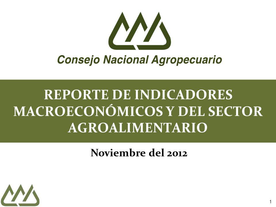 1 REPORTE DE INDICADORES MACROECONÓMICOS Y DEL SECTOR AGROALIMENTARIO Noviembre del 2012