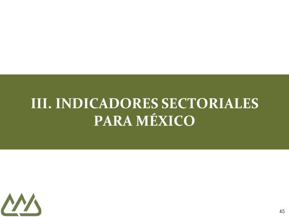 45 III. INDICADORES SECTORIALES PARA MÉXICO