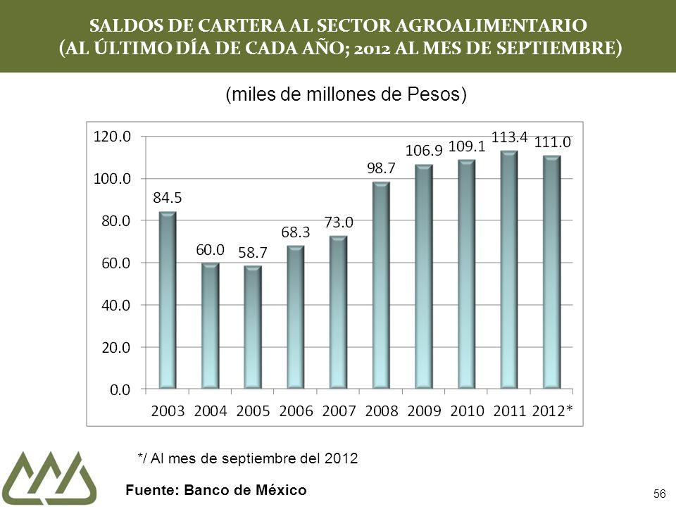 SALDOS DE CARTERA AL SECTOR AGROALIMENTARIO (AL ÚLTIMO DÍA DE CADA AÑO; 2012 AL MES DE SEPTIEMBRE) Fuente: Banco de México 56 (miles de millones de Pesos) */ Al mes de septiembre del 2012
