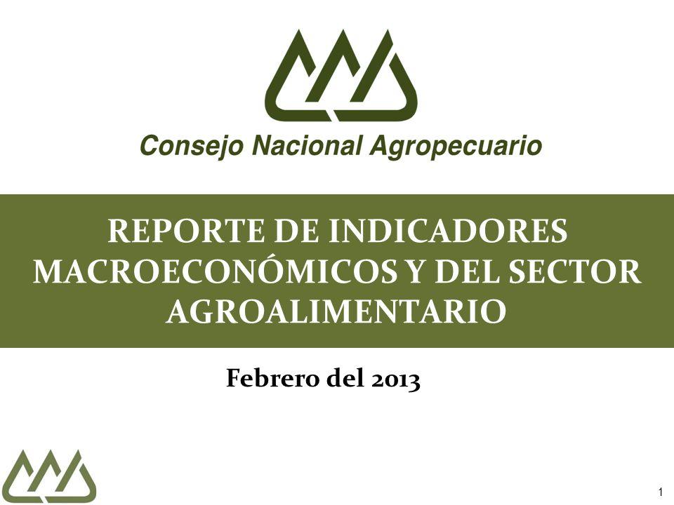 1 REPORTE DE INDICADORES MACROECONÓMICOS Y DEL SECTOR AGROALIMENTARIO Febrero del 2013