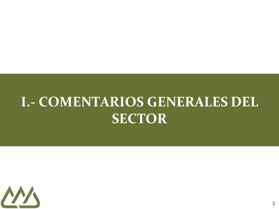 INDICADOR GLOBAL DE LA ACTIVIDAD ECONÓMICA (IGAE) DURANTE NOVIEMBRE DE 2012 (% VARIACIÓN ANUAL) Fuente: INEGI 14