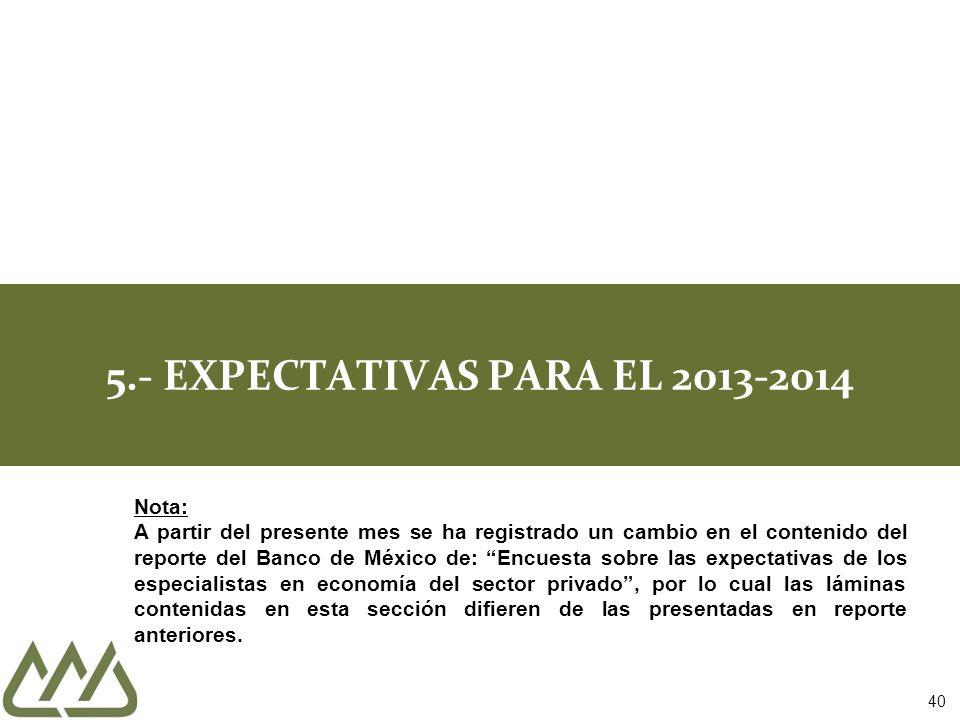 40 5.- EXPECTATIVAS PARA EL 2013-2014 Nota: A partir del presente mes se ha registrado un cambio en el contenido del reporte del Banco de México de: E