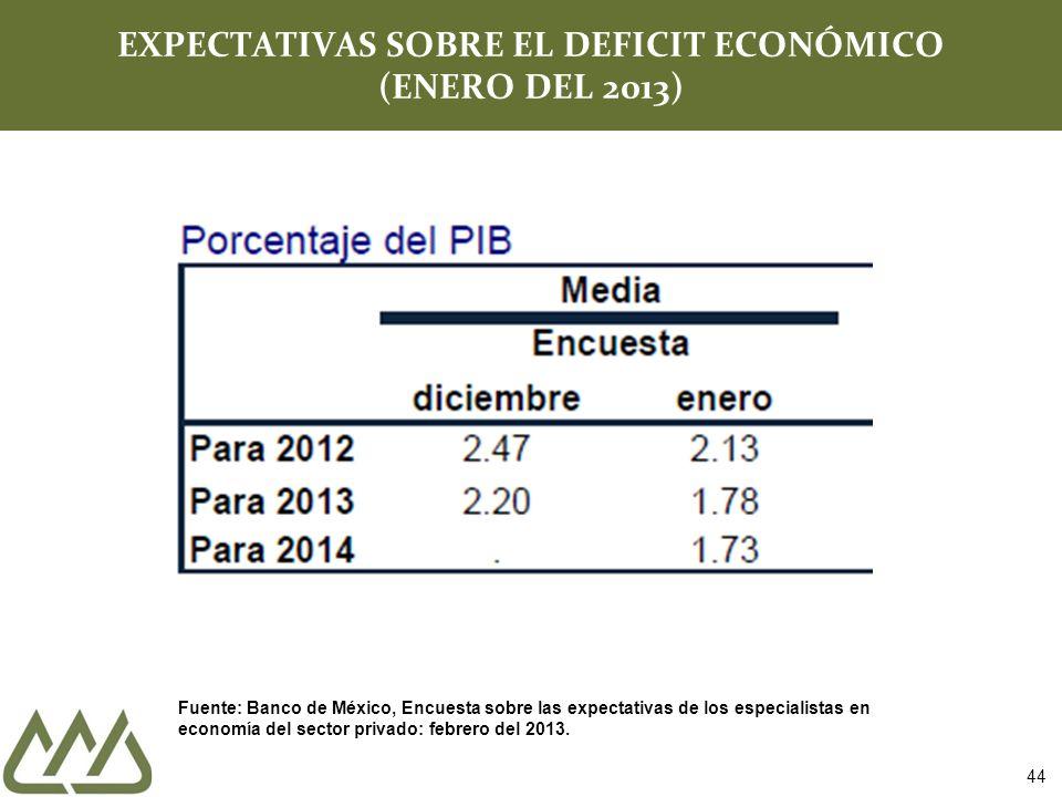 44 EXPECTATIVAS SOBRE EL DEFICIT ECONÓMICO (ENERO DEL 2013) Fuente: Banco de México, Encuesta sobre las expectativas de los especialistas en economía