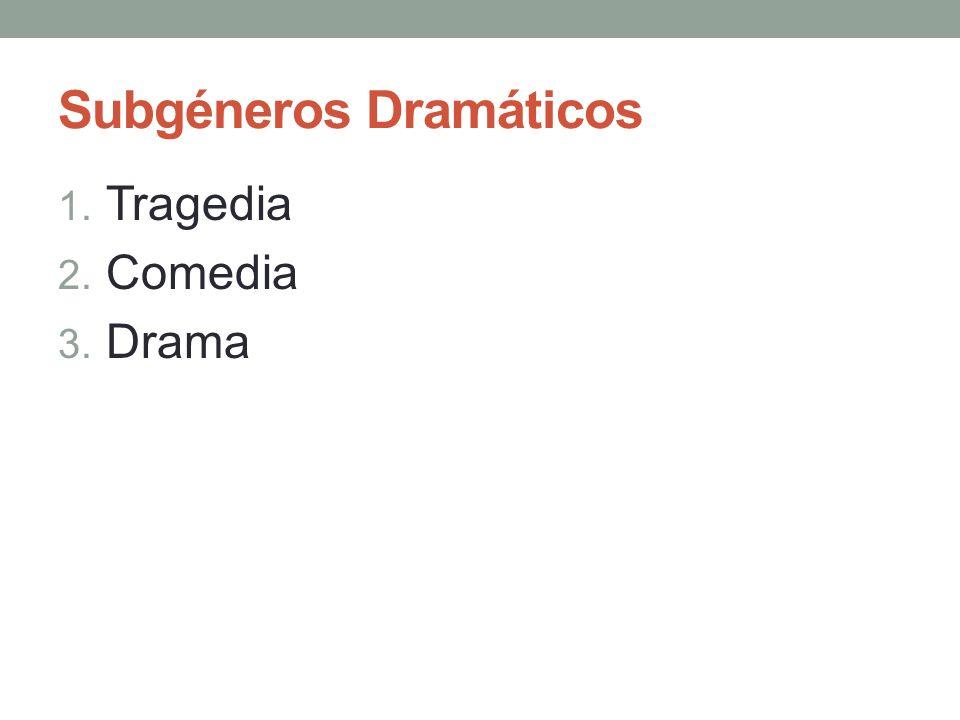 Subgéneros Dramáticos 1. Tragedia 2. Comedia 3. Drama