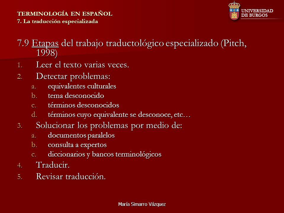 María Simarro Vázquez TERMINOLOGÍA EN ESPAÑOL 7. La traducción especializada 7.9 Etapas del trabajo traductológico especializado (Pitch, 1998) 1. Leer