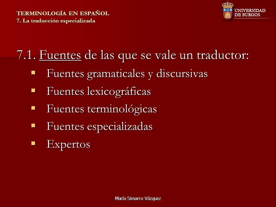 María Simarro Vázquez TERMINOLOGÍA EN ESPAÑOL 7. La traducción especializada 7.1. Fuentes de las que se vale un traductor: Fuentes gramaticales y disc