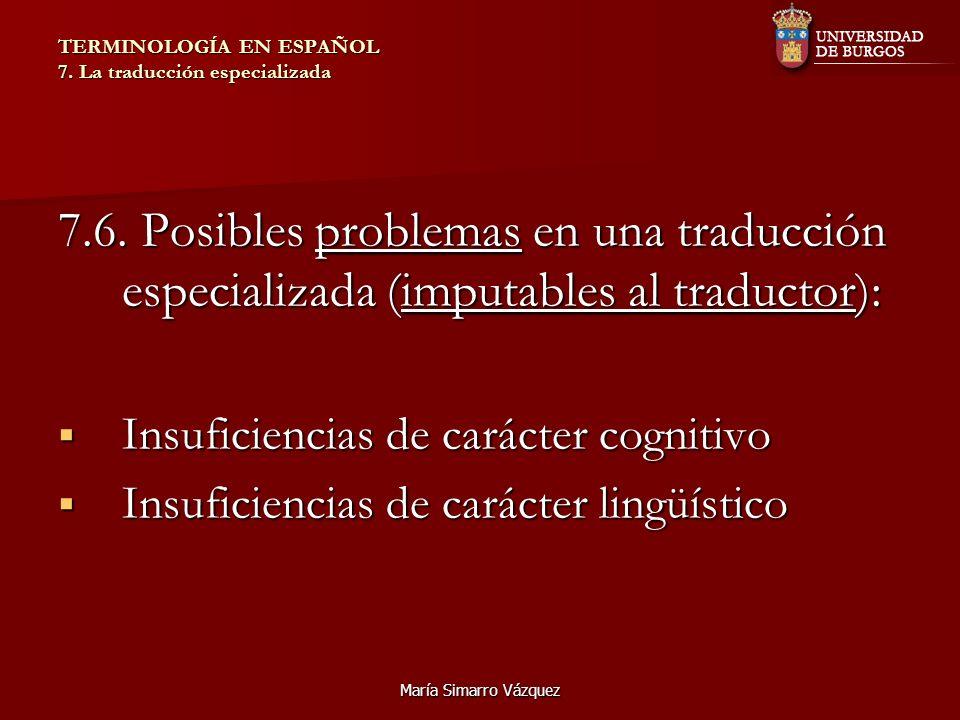 María Simarro Vázquez TERMINOLOGÍA EN ESPAÑOL 7. La traducción especializada 7.6. Posibles problemas en una traducción especializada (imputables al tr