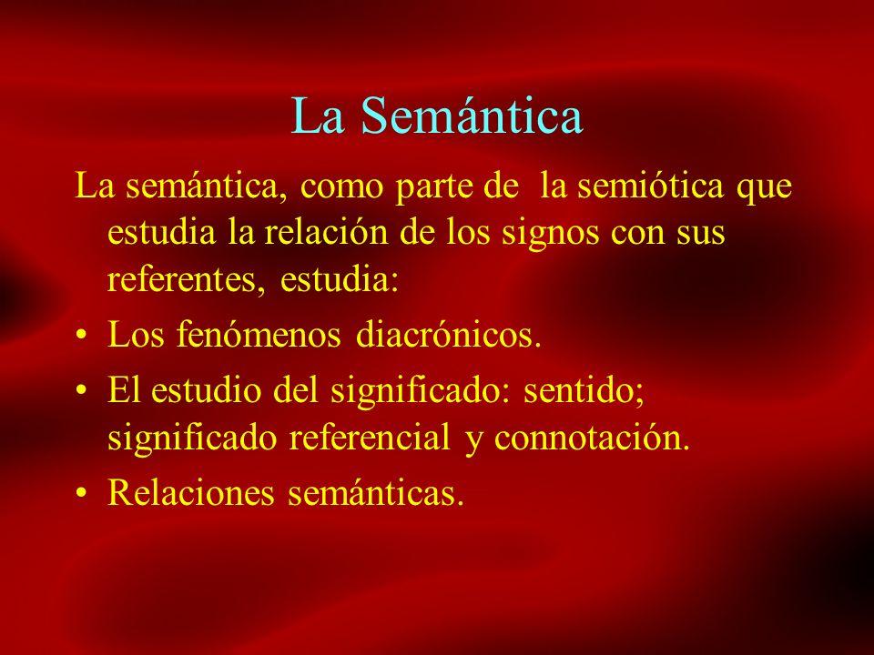 La Semántica La semántica, como parte de la semiótica que estudia la relación de los signos con sus referentes, estudia: Los fenómenos diacrónicos. El