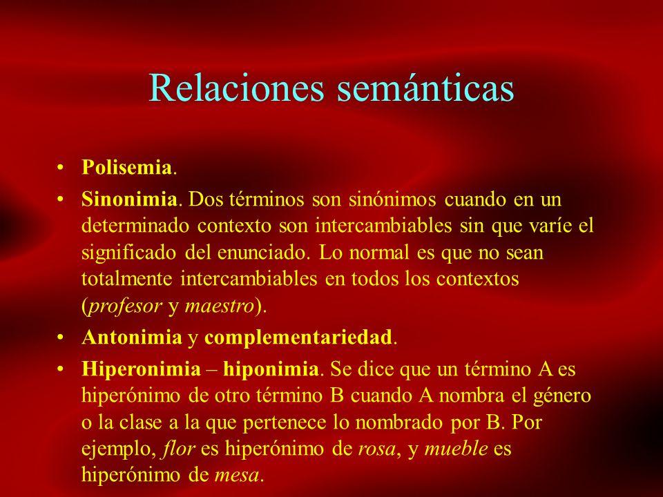Relaciones semánticas Polisemia. Sinonimia. Dos términos son sinónimos cuando en un determinado contexto son intercambiables sin que varíe el signific