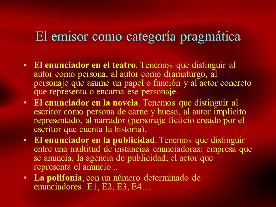 El emisor como categoría pragmática El enunciador en el teatro. Tenemos que distinguir al autor como persona, al autor como dramaturgo, al personaje q