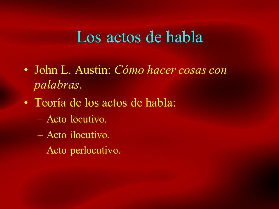 Los actos de habla John L. Austin: Cómo hacer cosas con palabras. Teoría de los actos de habla: –Acto locutivo. –Acto ilocutivo. –Acto perlocutivo.
