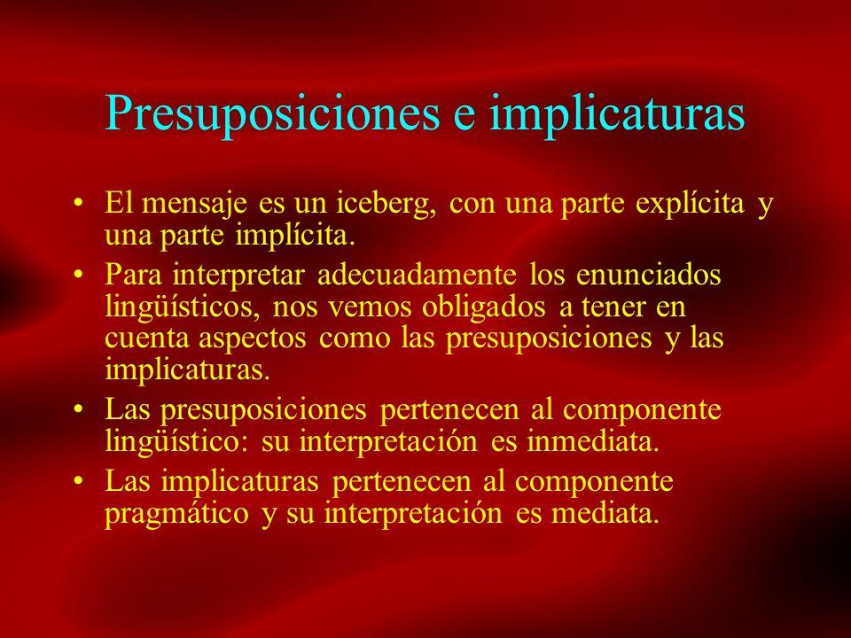 Presuposiciones e implicaturas El mensaje es un iceberg, con una parte explícita y una parte implícita. Para interpretar adecuadamente los enunciados