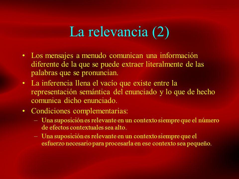 La relevancia (2) Los mensajes a menudo comunican una información diferente de la que se puede extraer literalmente de las palabras que se pronuncian.