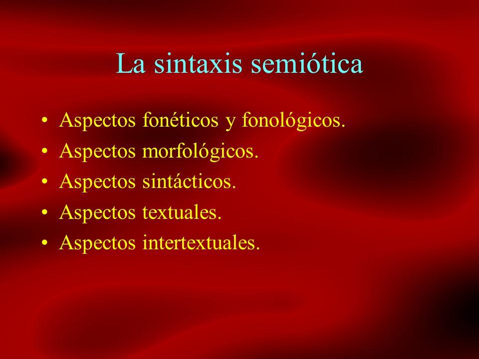 La sintaxis semiótica Aspectos fonéticos y fonológicos. Aspectos morfológicos. Aspectos sintácticos. Aspectos textuales. Aspectos intertextuales.