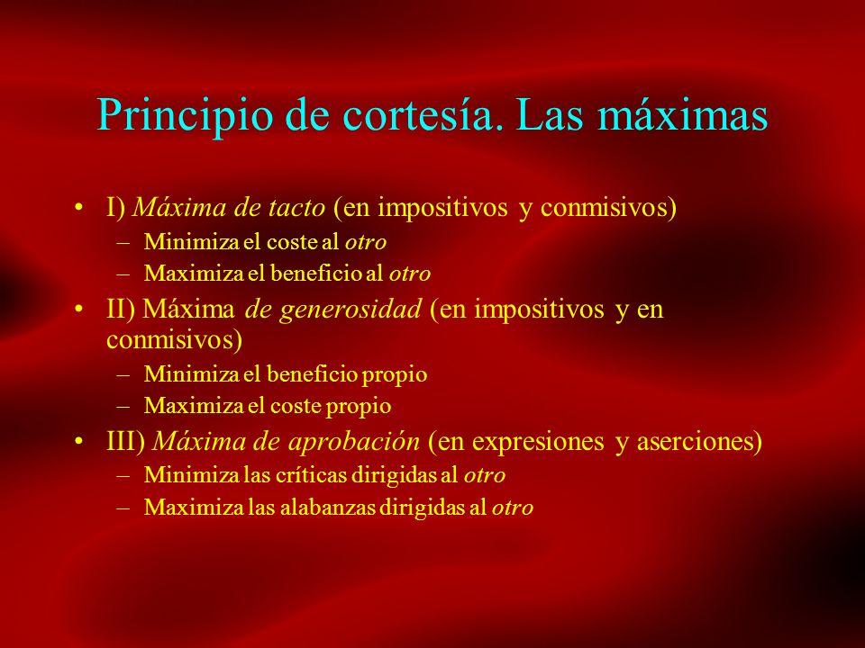 Principio de cortesía. Las máximas I) Máxima de tacto (en impositivos y conmisivos) –Minimiza el coste al otro –Maximiza el beneficio al otro II) Máxi