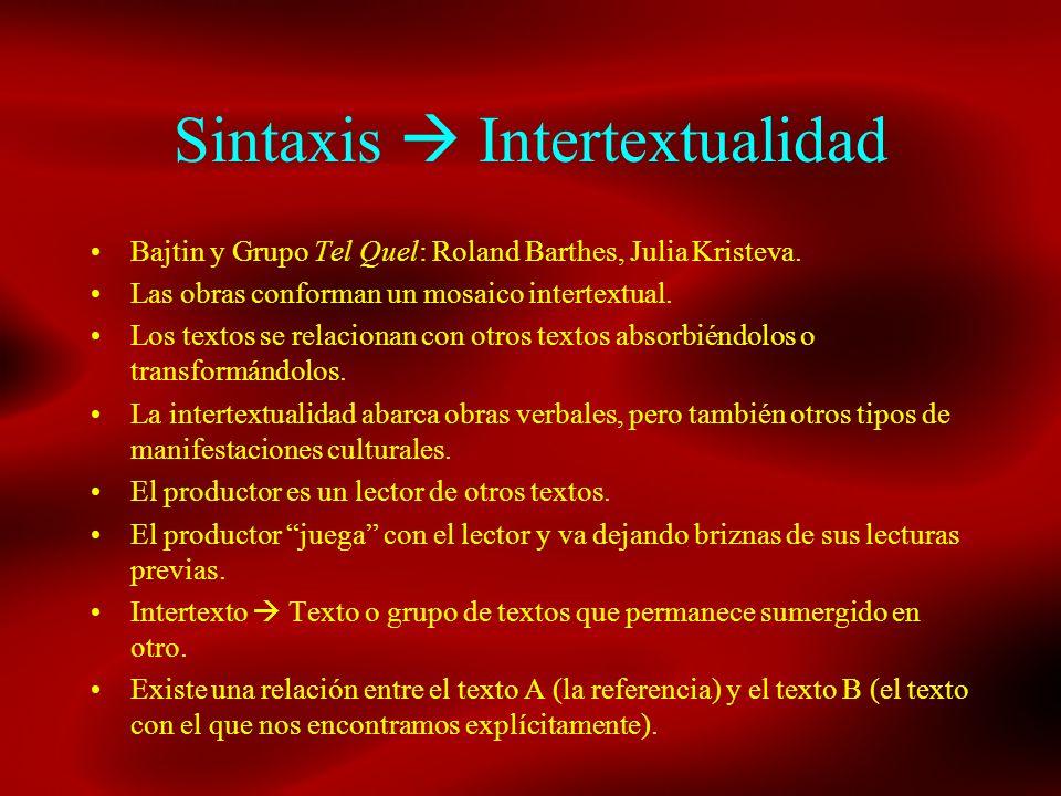 Sintaxis Intertextualidad Bajtin y Grupo Tel Quel: Roland Barthes, Julia Kristeva. Las obras conforman un mosaico intertextual. Los textos se relacion