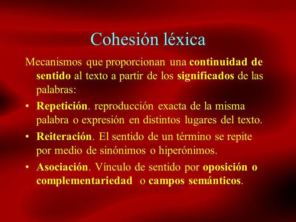 Cohesión léxica Mecanismos que proporcionan una continuidad de sentido al texto a partir de los significados de las palabras: Repetición. reproducción