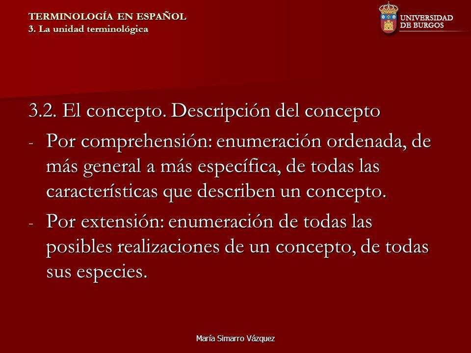 María Simarro Vázquez TERMINOLOGÍA EN ESPAÑOL 3. La unidad terminológica 3.2. El concepto. Descripción del concepto - Por comprehensión: enumeración o