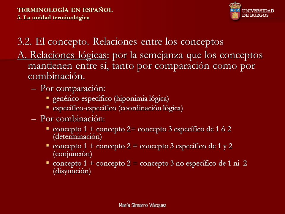 María Simarro Vázquez TERMINOLOGÍA EN ESPAÑOL 3. La unidad terminológica 3.2. El concepto. Relaciones entre los conceptos A. Relaciones lógicas: por l