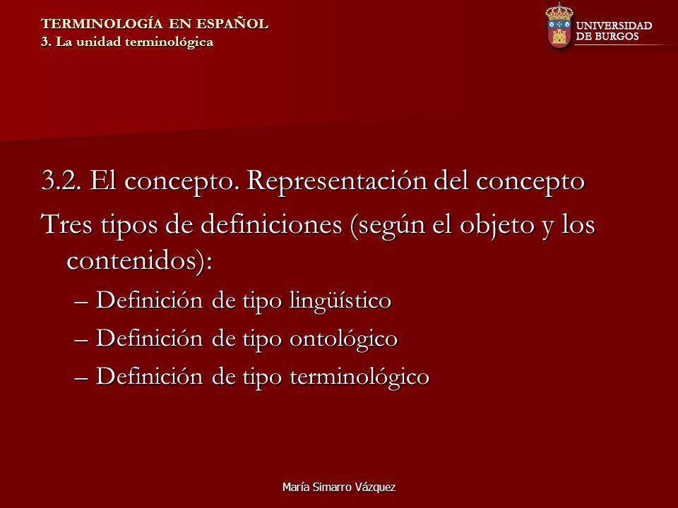 María Simarro Vázquez TERMINOLOGÍA EN ESPAÑOL 3. La unidad terminológica 3.2. El concepto. Representación del concepto Tres tipos de definiciones (seg