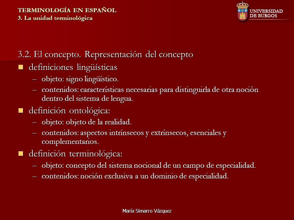 María Simarro Vázquez TERMINOLOGÍA EN ESPAÑOL 3. La unidad terminológica 3.2. El concepto. Representación del concepto definiciones lingüísticas defin
