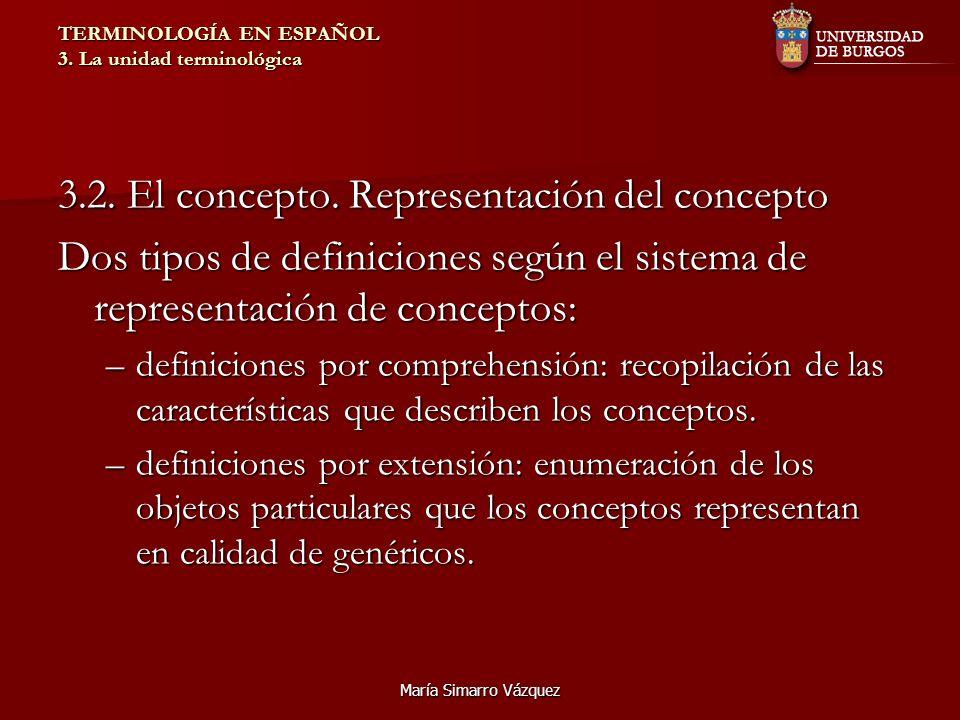 María Simarro Vázquez TERMINOLOGÍA EN ESPAÑOL 3. La unidad terminológica 3.2. El concepto. Representación del concepto Dos tipos de definiciones según