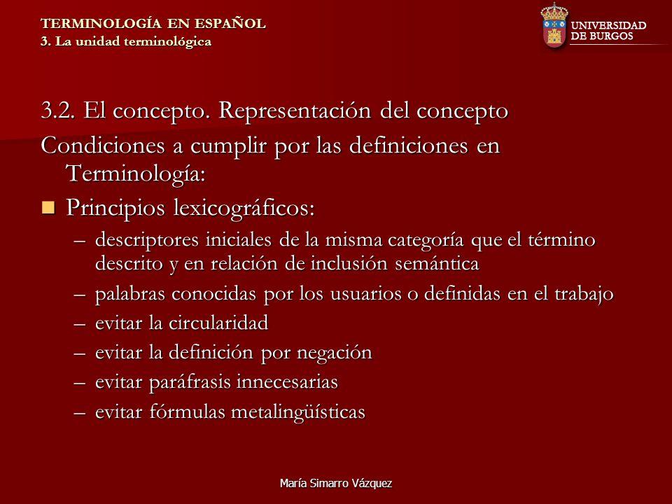 María Simarro Vázquez TERMINOLOGÍA EN ESPAÑOL 3. La unidad terminológica 3.2. El concepto. Representación del concepto Condiciones a cumplir por las d