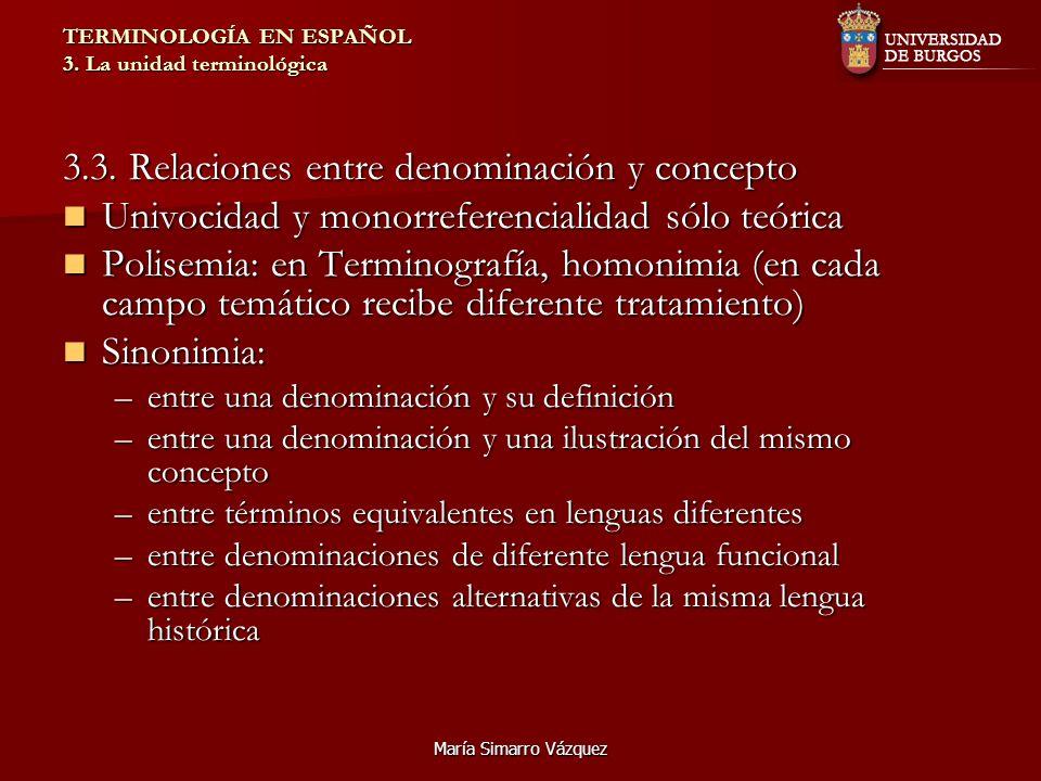 María Simarro Vázquez TERMINOLOGÍA EN ESPAÑOL 3. La unidad terminológica 3.3. Relaciones entre denominación y concepto Univocidad y monorreferencialid