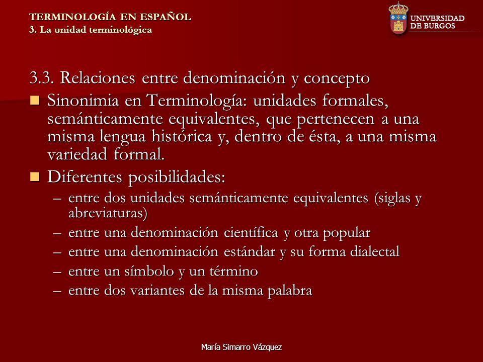 María Simarro Vázquez TERMINOLOGÍA EN ESPAÑOL 3. La unidad terminológica 3.3. Relaciones entre denominación y concepto Sinonimia en Terminología: unid