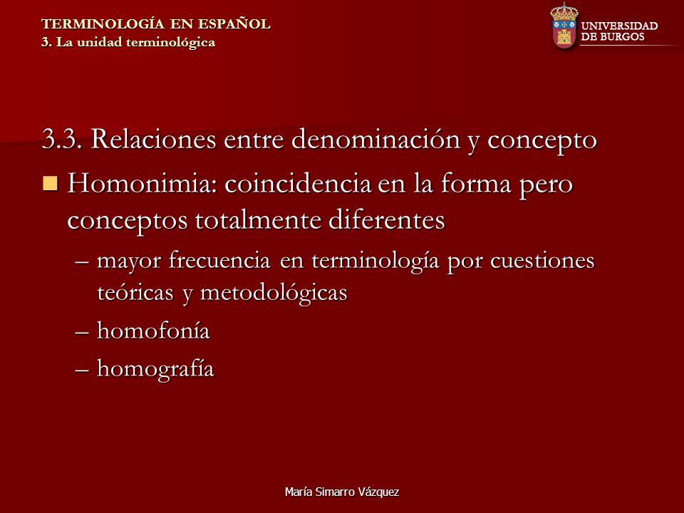 María Simarro Vázquez TERMINOLOGÍA EN ESPAÑOL 3. La unidad terminológica 3.3. Relaciones entre denominación y concepto Homonimia: coincidencia en la f