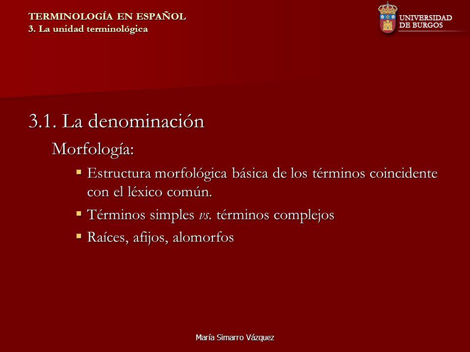 María Simarro Vázquez TERMINOLOGÍA EN ESPAÑOL 3. La unidad terminológica 3.1. La denominación Morfología: Estructura morfológica básica de los término