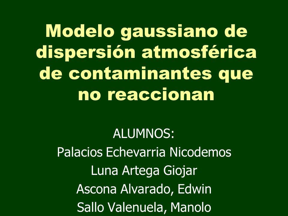 Modelo gaussiano de dispersión atmosférica de contaminantes que no reaccionan ALUMNOS: Palacios Echevarria Nicodemos Luna Artega Giojar Ascona Alvarad