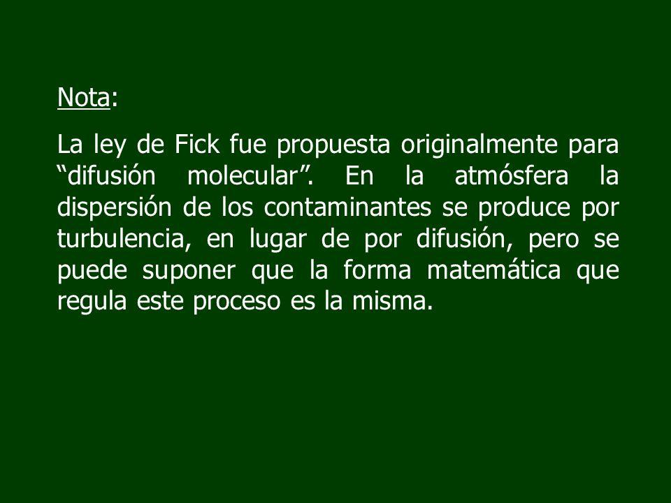 Nota: La ley de Fick fue propuesta originalmente para difusión molecular. En la atmósfera la dispersión de los contaminantes se produce por turbulenci