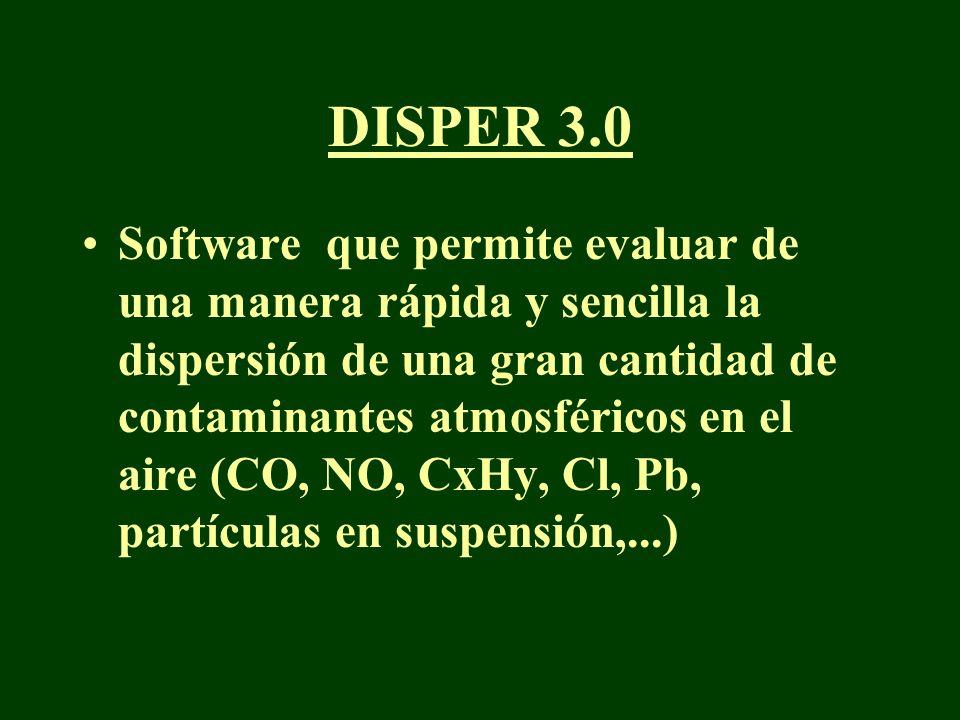 DISPER 3.0 Software que permite evaluar de una manera rápida y sencilla la dispersión de una gran cantidad de contaminantes atmosféricos en el aire (C