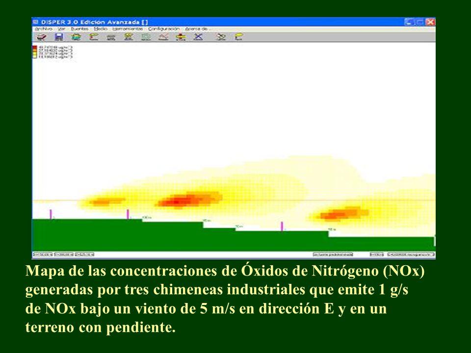 Mapa de las concentraciones de Óxidos de Nitrógeno (NOx) generadas por tres chimeneas industriales que emite 1 g/s de NOx bajo un viento de 5 m/s en d
