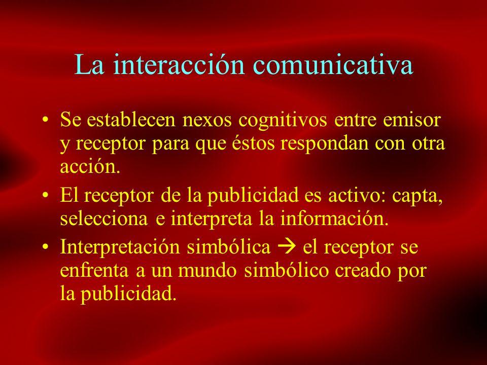 La interacción comunicativa Se establecen nexos cognitivos entre emisor y receptor para que éstos respondan con otra acción. El receptor de la publici