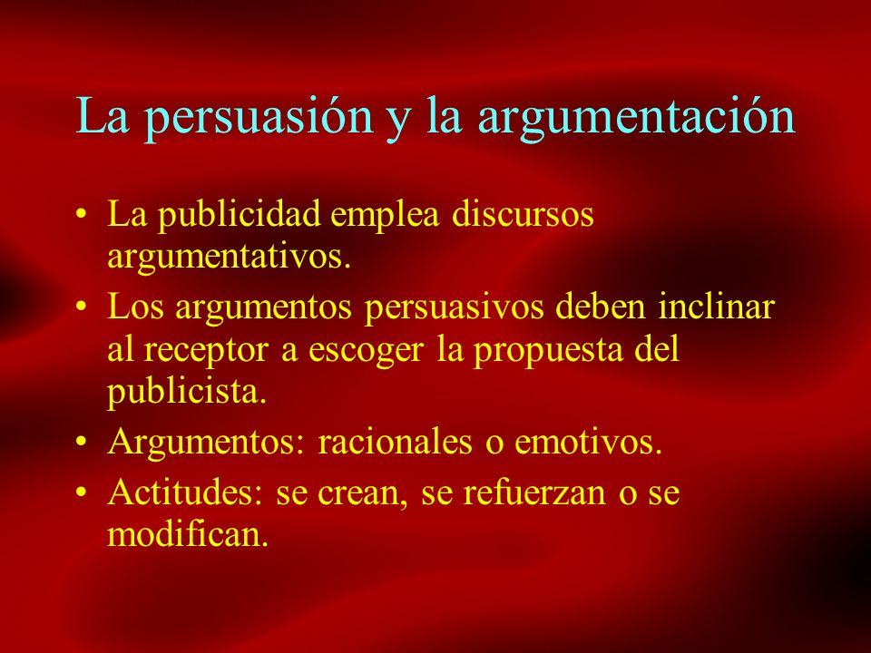 La persuasión y la argumentación La publicidad emplea discursos argumentativos. Los argumentos persuasivos deben inclinar al receptor a escoger la pro