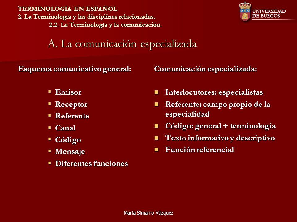 María Simarro Vázquez TERMINOLOGÍA EN ESPAÑOL 2. La Terminología y las disciplinas relacionadas. 2.2. La Terminología y la comunicación. A. La comunic