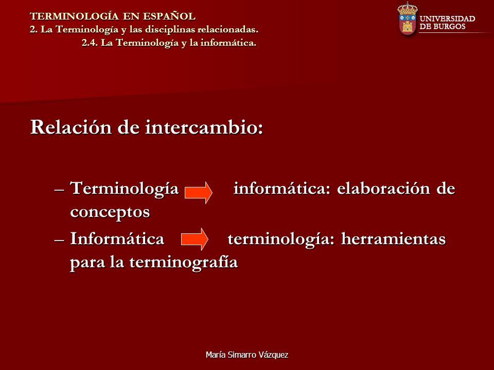 María Simarro Vázquez TERMINOLOGÍA EN ESPAÑOL 2. La Terminología y las disciplinas relacionadas. 2.4. La Terminología y la informática. Relación de in